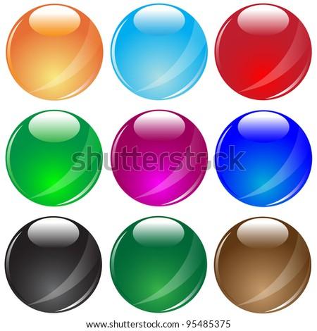Colored glass balls.Vector - stock vector