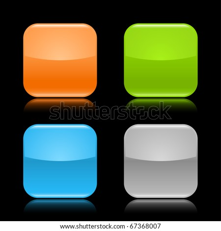 Colored glassy blank web 2.0 button. Rounded square shapes with reflection on black background - stock vector