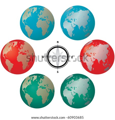 colored globes with world map vector - stock vector
