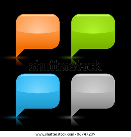 Colored glossy blank speech bubble icon web 2.0 button with gray shadow and reflection on black background - stock vector