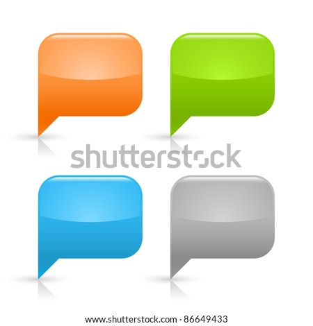 Colored glossy blank speech bubble icon web 2.0 button with gray shadow and reflection on white background - stock vector