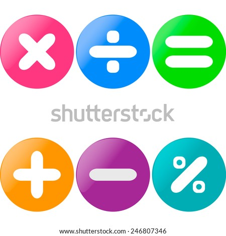 Colored glossy buttons with mathematical sign with drop shadow  - stock vector