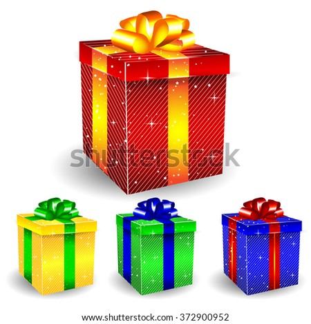 Colored Glossy 3D Present Box with Stripes Vector Set - stock vector