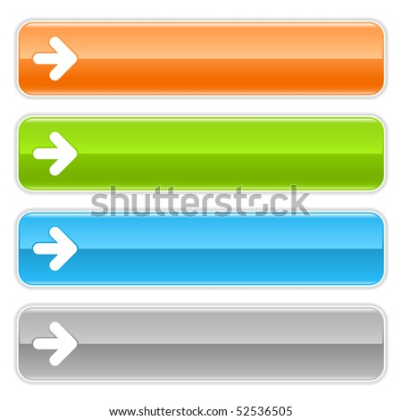 Colored glossy long web buttons bar with arrow sign on white - stock vector