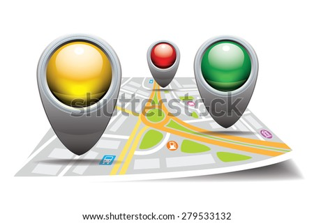Colored glossy pointers on the stylized map. Vector illustration - stock vector