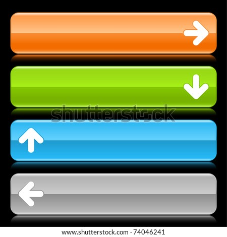 Colored glossy rounded rectangle web bar with arrow sign with color reflection on black - stock vector