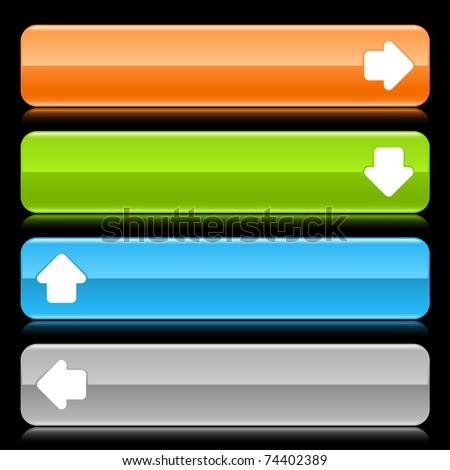 Colored glossy rounded rectangle web bar with arrow sign with color reflection on black background - stock vector