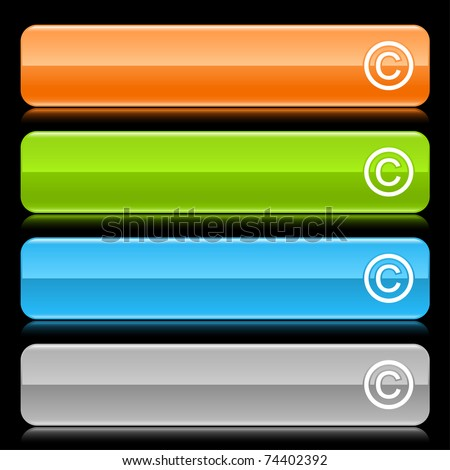 Colored glossy rounded rectangle web bar with copyright sign with color reflection on black background - stock vector
