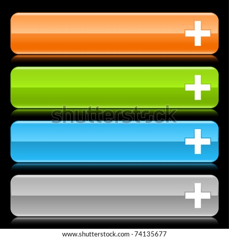 Colored glossy rounded rectangle web bar with cross sign with color reflection on black. 10 eps - stock vector