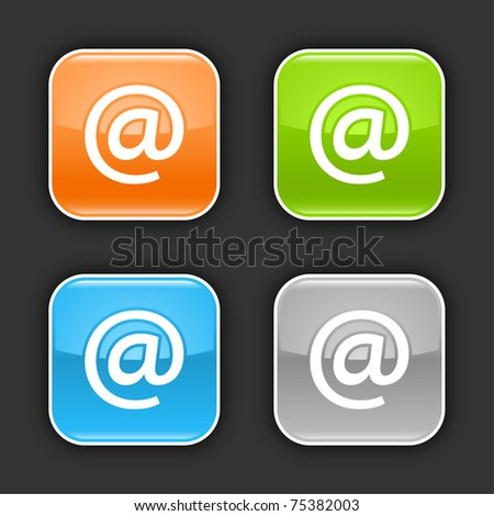 Colored glossy rounded square buttons with at sign with shadow on gray. 10 eps - stock vector