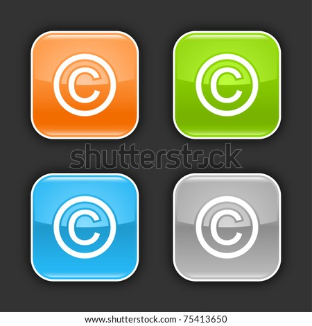 Colored glossy rounded square buttons with copyright sign with shadow on gray. 10 eps - stock vector