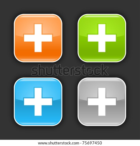 Colored glossy rounded square buttons with cross sign with shadow on gray. 10 eps - stock vector