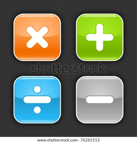 Colored glossy rounded square buttons with mathematical sign with shadow on gray. 10 eps - stock vector
