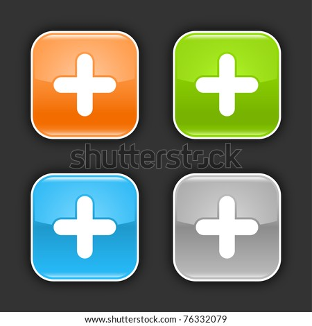 Colored glossy rounded square buttons with plus sign with shadow on gray. 10 eps - stock vector