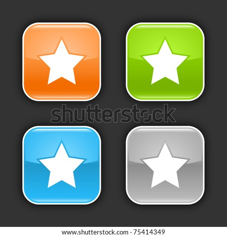 Colored glossy rounded square buttons with star sign with shadow on gray. 10 eps - stock vector