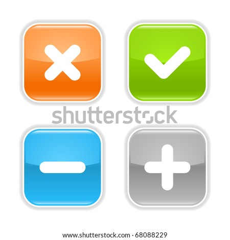 Colored glossy rounded square buttons with validation sign with drop shadow on white - stock vector