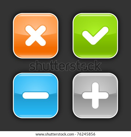 Colored glossy rounded square buttons with validation sign with shadow on gray. 10 eps - stock vector