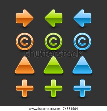 Colored glossy web 2.0 button arrow, copyright, triangle label and plus icons with black shadow and dark reflection on gray background - stock vector