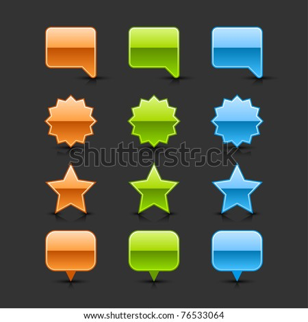 Colored glossy web 2.0 button speech bubble, round label, star and map pin icons with black shadow and dark reflection on gray background