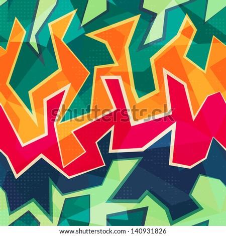colored graffiti seamless pattern - stock vector
