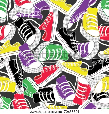 colored gumshoes for sport seamless background - stock vector