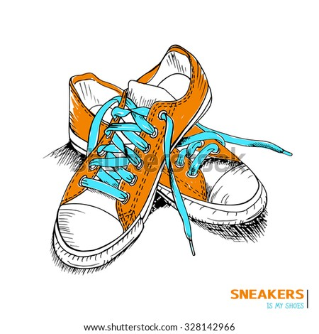 Colored hand drawn funky gumshoes skateboard fashion urban sneakers in orange and blue colors with title 'Sneakers is my shoes', vector illustration - stock vector