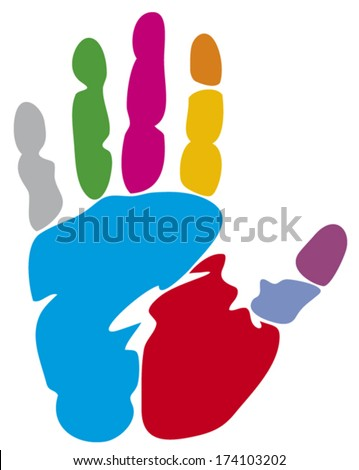colored hand print (colorful hand print) - stock vector