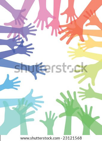 colored hands border with lens effect, for use with type - stock vector