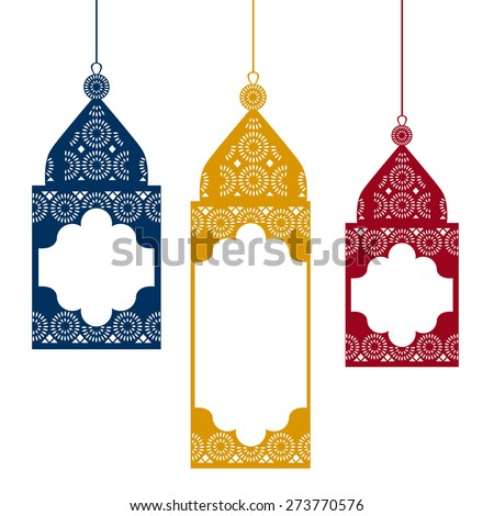Colored hanging traditional arabic lamps. Vector illustration.