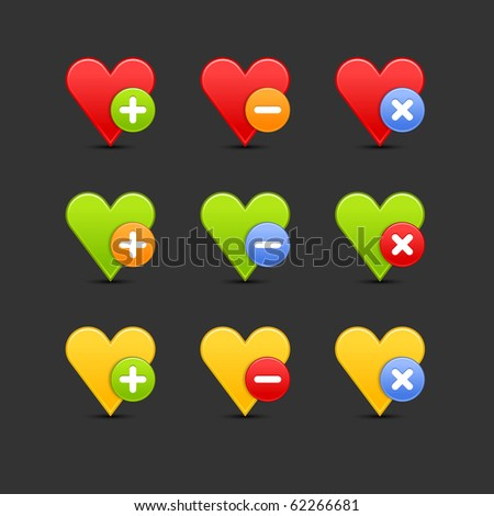 Colored heart favorite icon web 2.0 button with shadow on gray background. 10 eps - stock vector