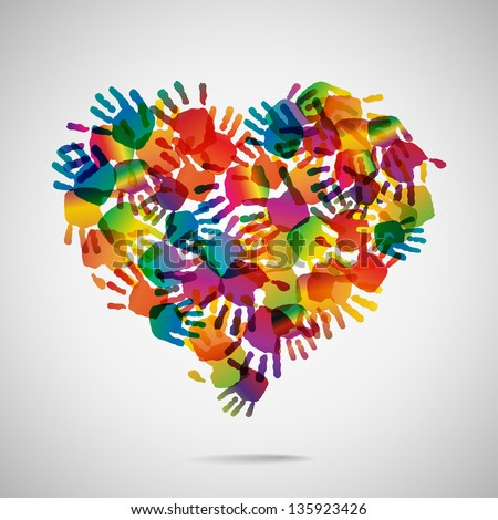 Colored heart from hand print icons, vector illustration - stock vector