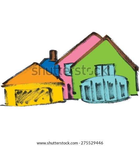 Colored houses. - stock vector
