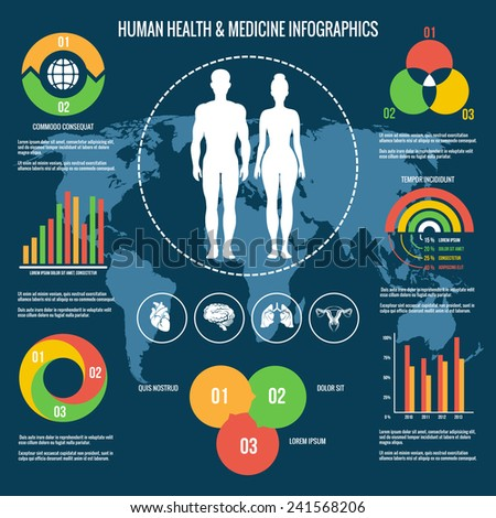 Colored Human Health and Medicine Concept Infographic Design on Blue Green Background with Map. - stock vector
