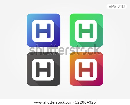 Colored Icon Hospital H Symbol Shadow Stock Vector 522084325