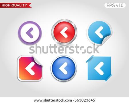 Colored Icon Button Left Arrow Symbol Stock Vector 563023645