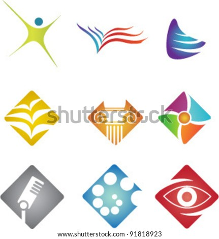 colored icons - stock vector