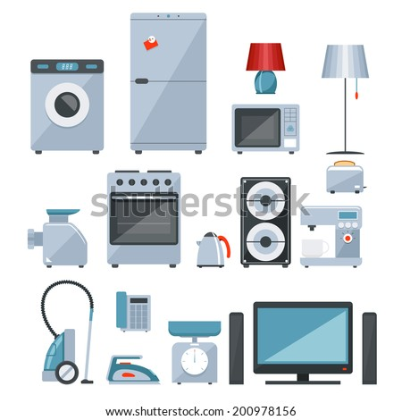 Colored icons of different types of home appliances on white background - stock vector