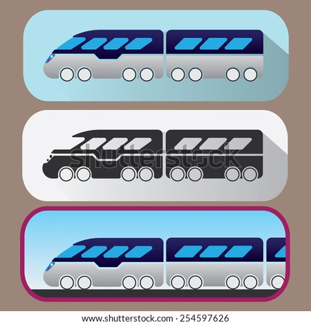 Colored icons of hi-speed train - stock vector