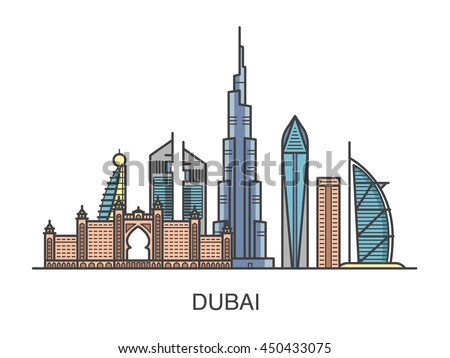 Colored illustration dubai city all famous stock vector for Burj khalifa sketch