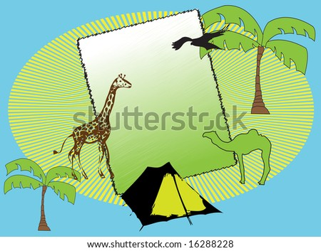 Colored illustration with abstract frame, palm trees, tent, camel and giraffe