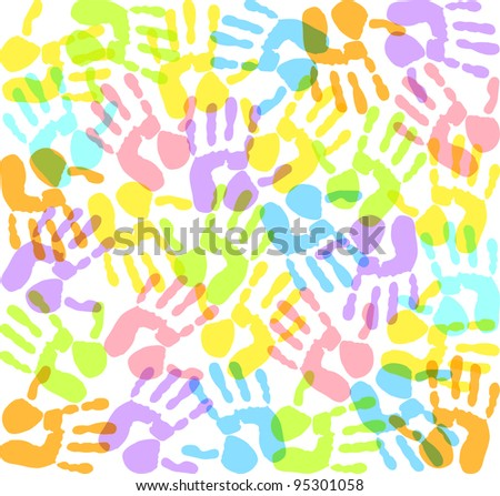 colored imprints hands - stock vector