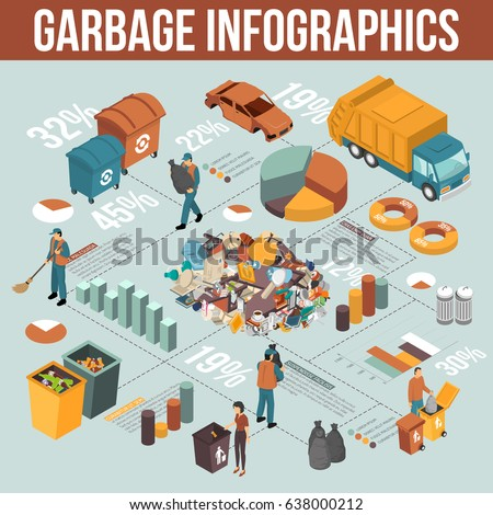 Colored isometric garbage recycling infographics scheme with percentage ratio on garbage theme vector illustration
