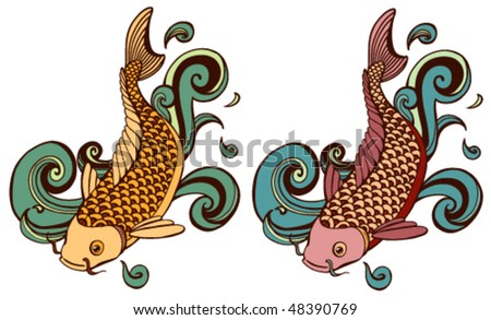 colored koi variations - stock vector