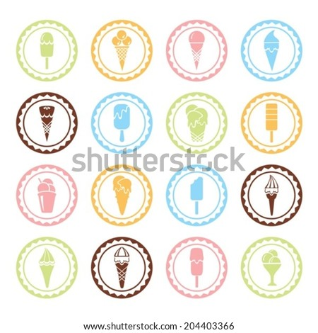 Colored labels with ice cream. Vector.  EPS-10 (non transparent elements,non gradient)   - stock vector