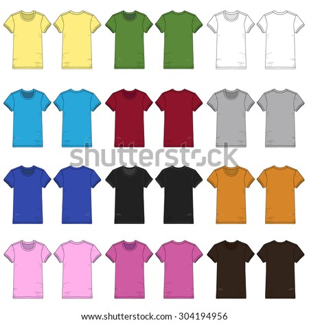Colored Ladies Short Sleeved T-shirts.
