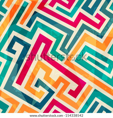 colored lines seamless pattern with grunge effect - stock vector