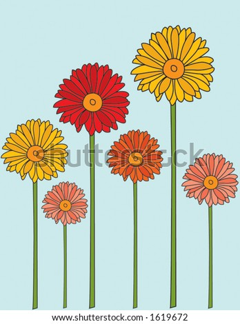 Colored Long Stem Daisies - stock vector
