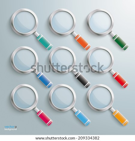 Colored loupes on the grey background. Eps 10 vector file. - stock vector
