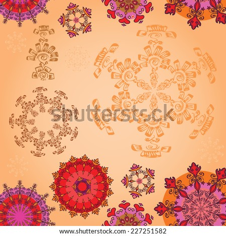 Colored mandala on a sepia background - stock vector
