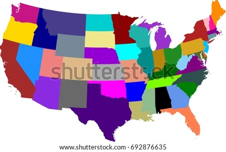 Colored Map United States America Split Stock Vector - Us alaska hawaii no states vector map